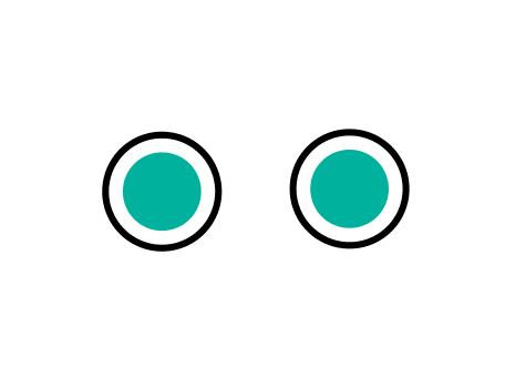 Animation of two shapes, with a circle on the left and on the right the shapes are shifting until an identical circle comes up, and then both circles turn green